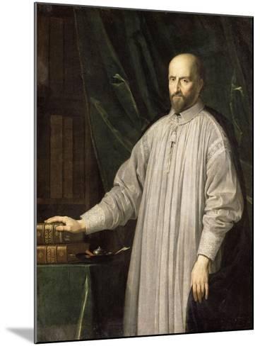 Jean-Ambroise Duvergier de Hauranne, abbé de Saint-Cyran (1581-1643) devant la Bible et les-Philippe De Champaigne-Mounted Giclee Print