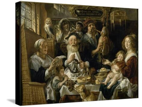 Les Jeunes piaillent comme chantent les vieux-Jacob Jordaens-Stretched Canvas Print