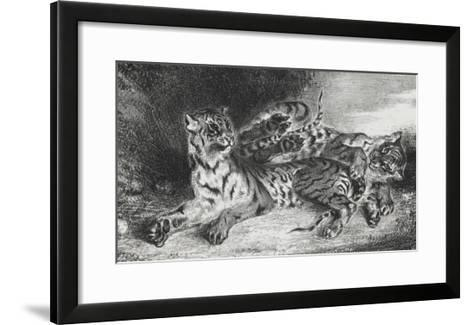 Jeune tigre jouant avec sa mère, lithographie 1er état-Eugene Delacroix-Framed Art Print