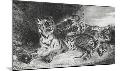 Jeune tigre jouant avec sa mère, lithographie 1er état-Eugene Delacroix-Mounted Giclee Print