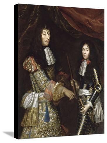 Louis II de Bourbon, 4° prince de Condé, dit le Grand Condé (1621-1686) et son fils aîné-Claude Lefebvre-Stretched Canvas Print