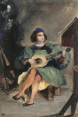 Jeune guitariste en costume italien de la Renaissance-Eugene Delacroix-Stretched Canvas Print