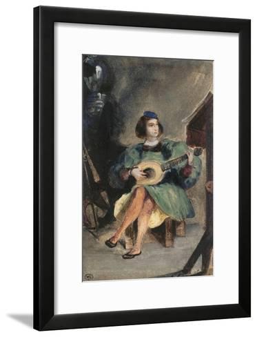 Jeune guitariste en costume italien de la Renaissance-Eugene Delacroix-Framed Art Print
