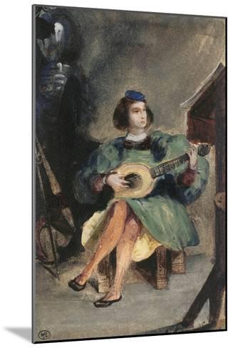 Jeune guitariste en costume italien de la Renaissance-Eugene Delacroix-Mounted Giclee Print