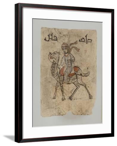 """Homme sur son chameau, au dessus du dessin, inscription en Kûfique ornemental : """"Maître d'une--Framed Art Print"""