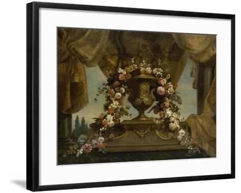 Un vase d'or couvert posé sur un socle de phorphyre, le fond est un rideau et un ciel  1702-1704-Jean Belin-Framed Art Print