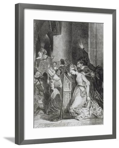 """""""Faust"""" de Goethe: Marguerite en prière à l'église avec Méphisto: """"Malheureuse...""""; 1828-Eugene Delacroix-Framed Art Print"""