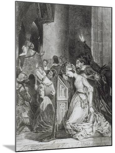 """""""Faust"""" de Goethe: Marguerite en prière à l'église avec Méphisto: """"Malheureuse...""""; 1828-Eugene Delacroix-Mounted Giclee Print"""
