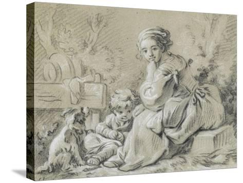 Young Peasant Woman Sitting with a Child and a Dog--Stretched Canvas Print
