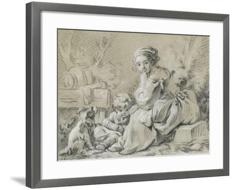 Young Peasant Woman Sitting with a Child and a Dog--Framed Art Print