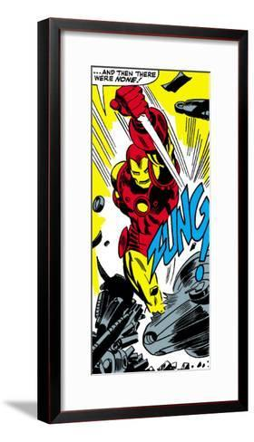 Marvel Comics Retro: The Invincible Iron Man Comic Panel, Fighting, Charging and Smashing - Zung!--Framed Art Print