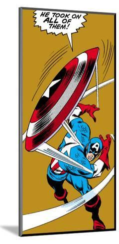 Marvel Comics Retro: Captain America Comic Panel, Throwing Shield--Mounted Art Print