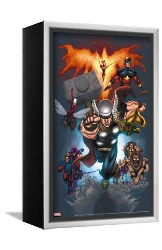 The Official Handbook Of The Marvel Universe: Book of the Dead 2004 Cover: Thor Jumping-Salvador Larroca-Framed Canvas Print