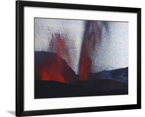 FimmvördUHals Eruption, Lavafountains, Eyjafjallajökull, Iceland--Framed Art Print