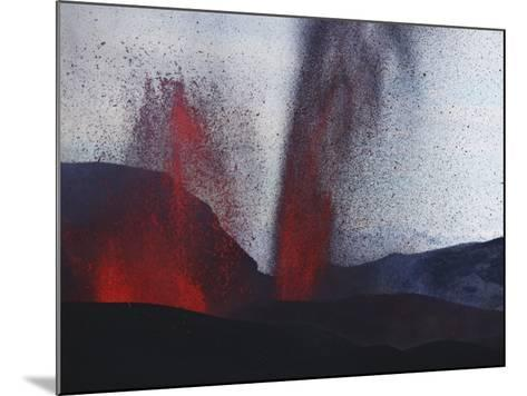 FimmvördUHals Eruption, Lavafountains, Eyjafjallajökull, Iceland--Mounted Photographic Print
