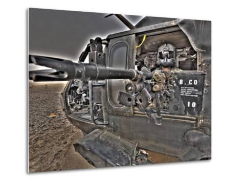 A UH-60 Black Hawk Door Gunner Manning a M240G Medium Machine Gun--Metal Print