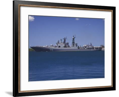 Russian Destroyer Admiral Panteleyev Transits Our of Pearl Harbor, Hawaii--Framed Art Print