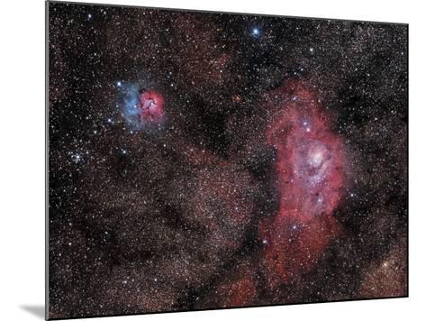 Lagoon Nebula and Trifid Nebula in Sagittarius--Mounted Photographic Print
