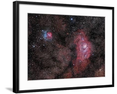 Lagoon Nebula and Trifid Nebula in Sagittarius--Framed Art Print