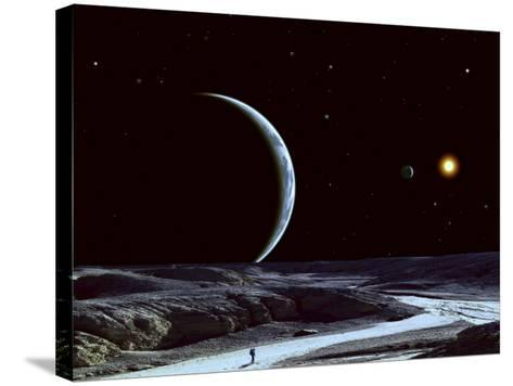 A Lone Explorer Follows an Ancient Riverbed While His Planet Floats in the Black Star-Filled Sky--Stretched Canvas Print