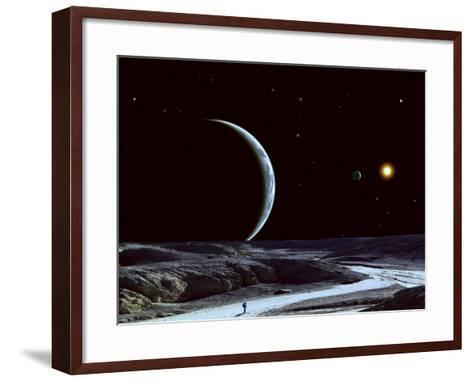 A Lone Explorer Follows an Ancient Riverbed While His Planet Floats in the Black Star-Filled Sky--Framed Art Print