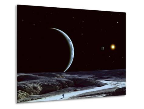 A Lone Explorer Follows an Ancient Riverbed While His Planet Floats in the Black Star-Filled Sky--Metal Print