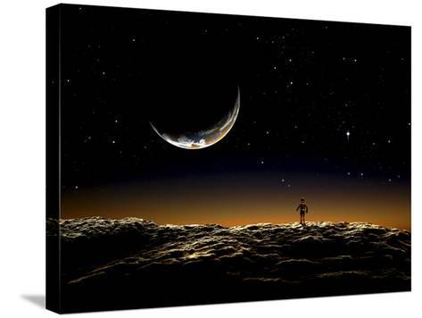 A Thin Veil of Gaseous Material Surrounding the Blue-White Star Vega--Stretched Canvas Print