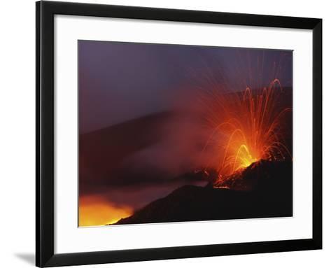 Mount Etna Eruption, Sicily, Italy--Framed Art Print