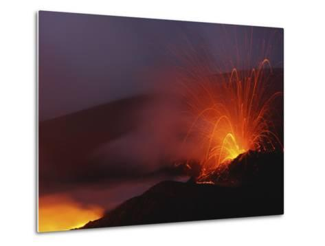 Mount Etna Eruption, Sicily, Italy--Metal Print