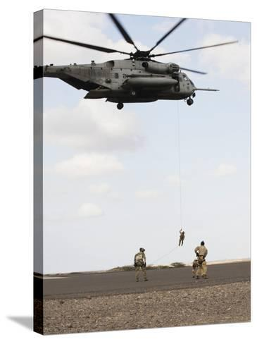 Air Force Pararescuemen Conduct a Combat Insertion and Extraction Exercise in Djibouti, Africa--Stretched Canvas Print