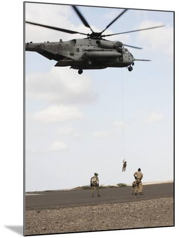 Air Force Pararescuemen Conduct a Combat Insertion and Extraction Exercise in Djibouti, Africa--Mounted Photographic Print