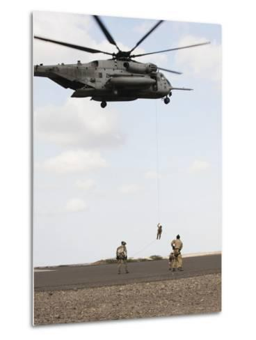 Air Force Pararescuemen Conduct a Combat Insertion and Extraction Exercise in Djibouti, Africa--Metal Print