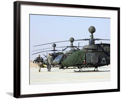 Oh-58D Kiowa Warrior Helicopters Parked at Camp Speicher, Iraq--Framed Art Print