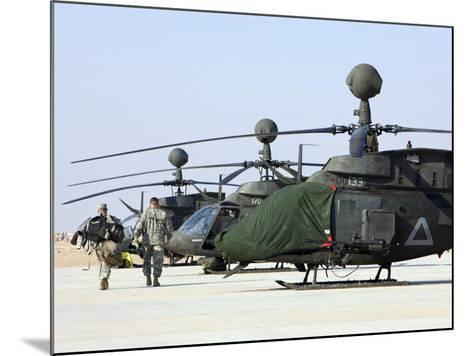 Oh-58D Kiowa Warrior Helicopters Parked at Camp Speicher, Iraq--Mounted Photographic Print