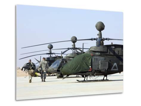 Oh-58D Kiowa Warrior Helicopters Parked at Camp Speicher, Iraq--Metal Print
