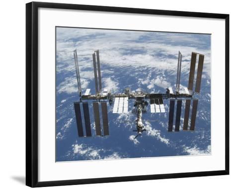 International Space Station in Orbit Above the Earth--Framed Art Print