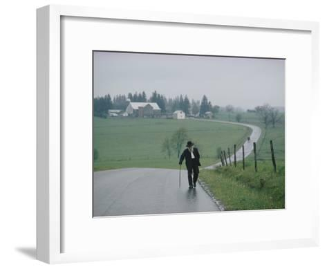 An 81 Year Old Amish Man Walks to the Amish Church on Sunday Morning-Robert Madden-Framed Art Print