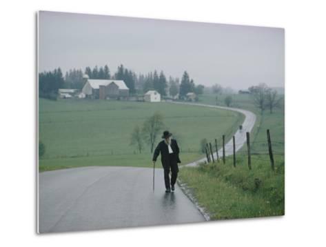 An 81 Year Old Amish Man Walks to the Amish Church on Sunday Morning-Robert Madden-Metal Print