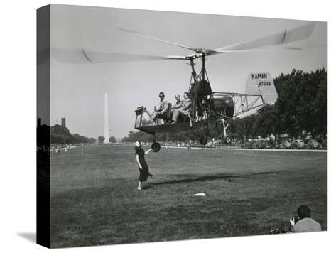Inventor Charles Kaman Showing Off His K-225 Helicopter-Ernest J^ Cottrell-Stretched Canvas Print