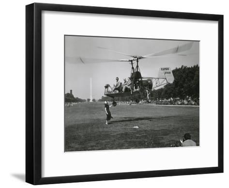 Inventor Charles Kaman Showing Off His K-225 Helicopter-Ernest J^ Cottrell-Framed Art Print