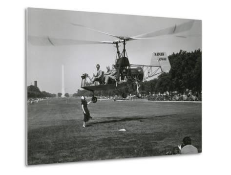 Inventor Charles Kaman Showing Off His K-225 Helicopter-Ernest J^ Cottrell-Metal Print