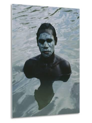 Aboriginal Teen with a Mask of Mud, Swimming in a Billabong-Sam Abell-Metal Print