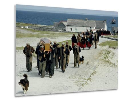 Village Men Carry a Coffin, Women in Red Skirts Follow in Procession-Jim Sugar-Metal Print