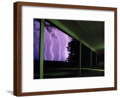 A Storm with Lightning in the Sand Hills Area of Nebraska-Jim Richardson-Framed Art Print