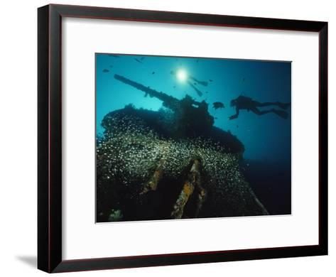 Divers Explore the USS President Coolidge's Forward Guntub-David Doubilet-Framed Art Print