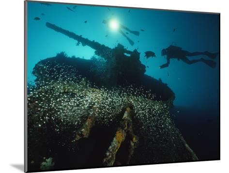 Divers Explore the USS President Coolidge's Forward Guntub-David Doubilet-Mounted Photographic Print