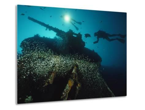 Divers Explore the USS President Coolidge's Forward Guntub-David Doubilet-Metal Print