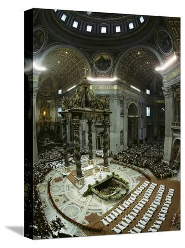 Candidates for Priesthood Lie Prostrate before St Peter's High Altar-James L^ Stanfield-Stretched Canvas Print