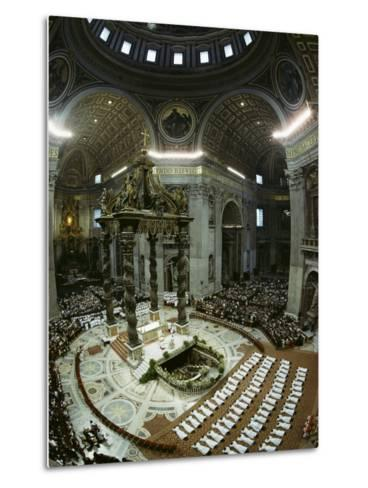 Candidates for Priesthood Lie Prostrate before St Peter's High Altar-James L^ Stanfield-Metal Print