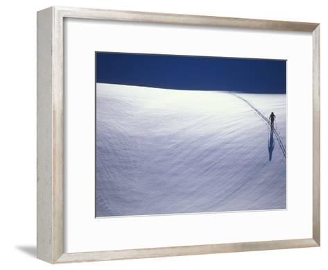 Cross-Country Skiing on a Glacier in Alaska-John Burcham-Framed Art Print